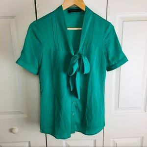The Limited Short Sleeve Bow Tie Button Blouse